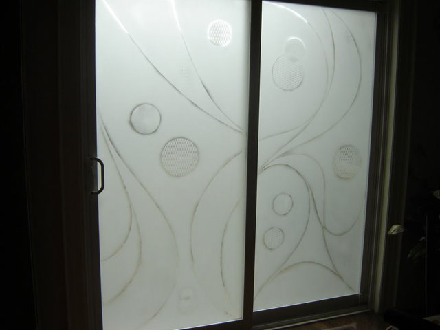 Modern design on patio doors