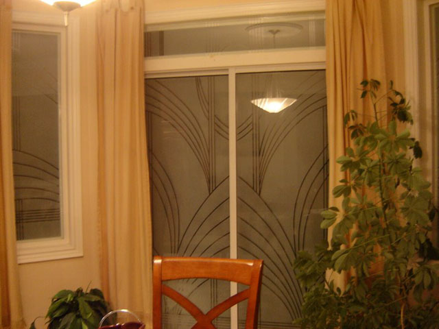 Privacy glass patio doors with modern design