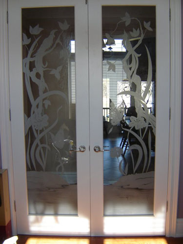 Flower design on interior doors