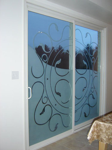 Half privacy design on patio doors
