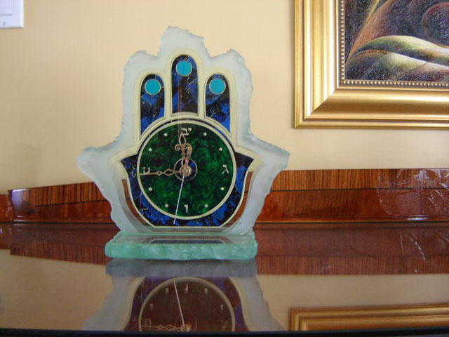 Marbleized and carved glass clock on base