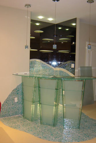 Artistic bar glass table with back mirror and shelves